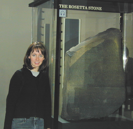 Claire with the Rosetta Stone