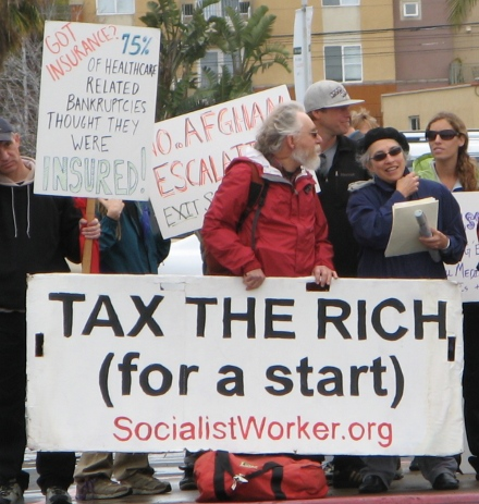 "COUNTERDEMONSTRATION: All the Tea Party talk of ""socialism"" was of course complete nonsense."