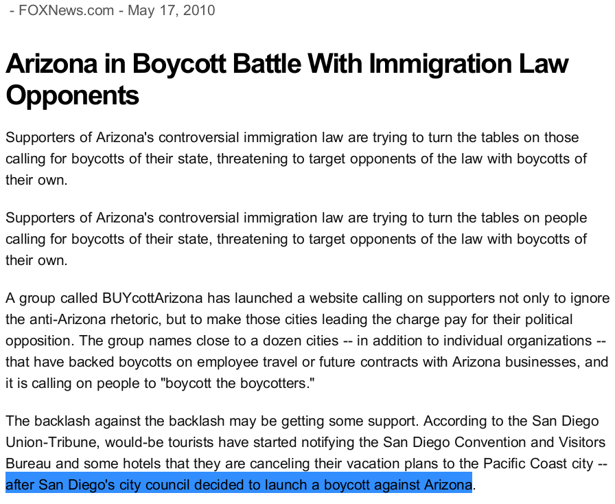 False claim of San Diego City Council boycott of Arizona