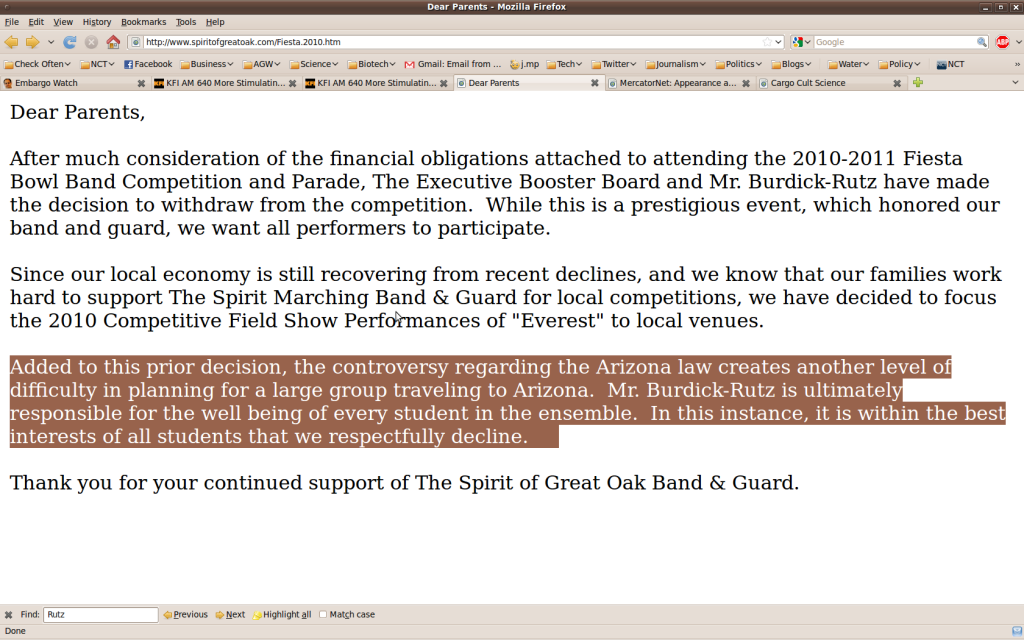 Great Oak Band Letter-  screencap Sunday afternoon, May 16