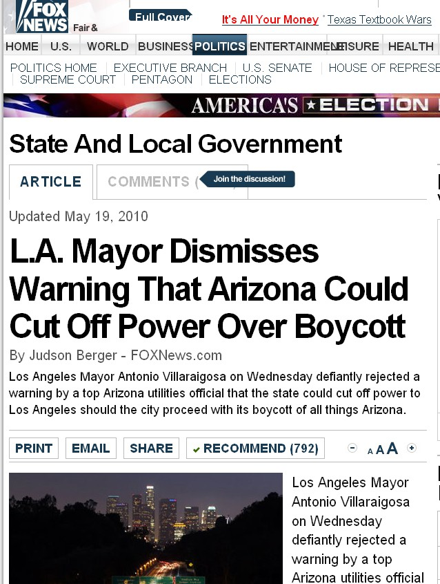 Fox News falsely says AZ official threatens to cut off power