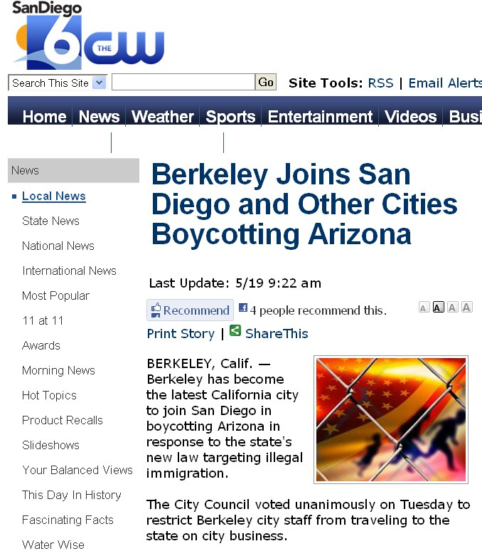 San Diego 6 Says San Diego Boycotts Arizona