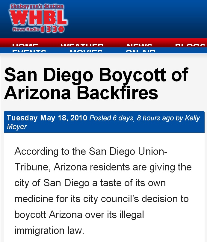 WHBL says San Diego council boycotted Arizona