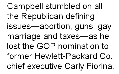 Campbell stumbled on key GOP issues