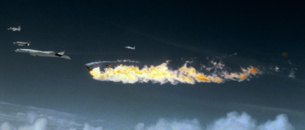 North American XB-70A Valkyrie just after collision. Note the F-104 is at the forward edge of the fireball and most of both XB-70A vertical stabilizers are gone. (U.S. Air Force photo)